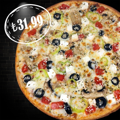 Tam Buğday Orta Boy Akdeniz Pizza  (2 Kişilik)