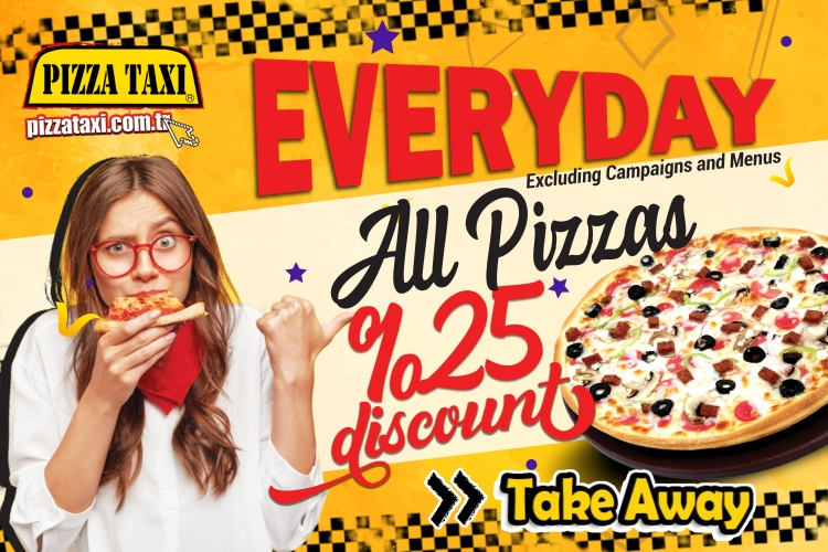 Ever Day All Pizzas %20 Discount .
